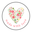 """""""Made with Love"""" Floral Heart Circle Labels"""