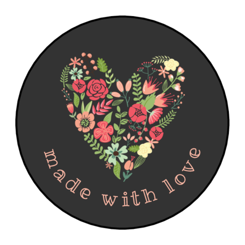 "OL325 - 1.67"" Circle - ""Made with Love"" Floral Heart Circle Labels"