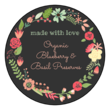 """Made with Love"" Floral Wreath Circle Labels"