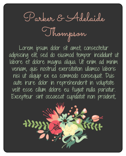 "OL475 - 4"" x 5"" - Floral Newlyweds Wine Label - Backing"