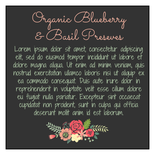 Floral Jar Labels - Backing pre-designed label template for OL805
