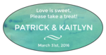 Blue Watercolor Oval Wedding Favor Labels
