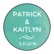 Blue Watercolor Circle Wedding Announcement Labels
