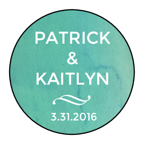 "OL325 - 1.67"" Circle - Blue Watercolor Circle Wedding Announcement Labels"