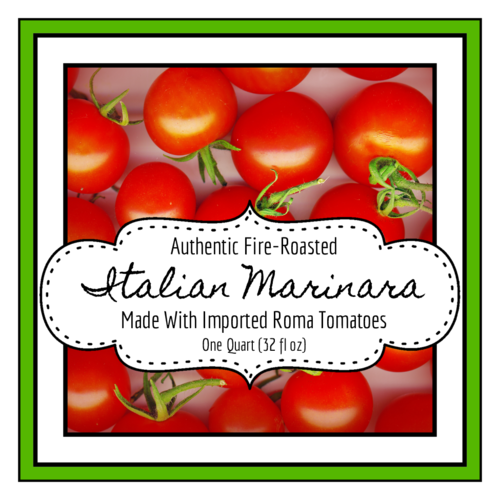 Square Marinara Sauce Jar Label pre-designed label template for OL805