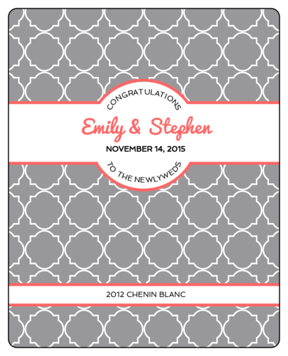 "OL475 - 4"" x 5"" - Quatrefoil Wedding Wine Label"
