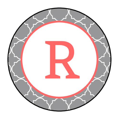 "OL325 - 1.67"" Circle - Quatrefoil Monogram Labels"