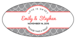 Quatrefoil Oval Wedding Labels