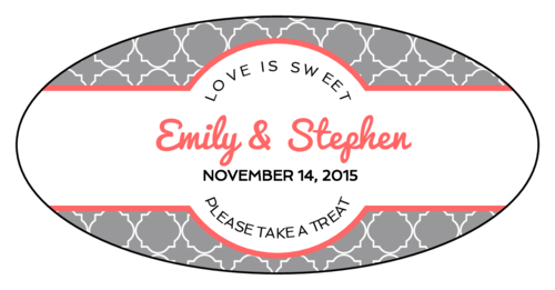 Quatrefoil Oval Wedding Labels (Oval)