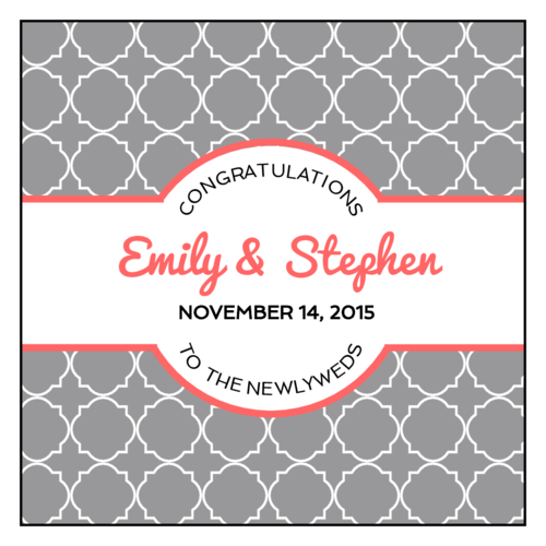 "OL805 - 3"" x 3"" Square - Quatrefoil Wedding Labels"