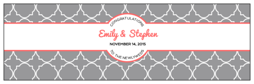 Quatrefoil Wedding Water Bottle Labels pre-designed label template for OL5950