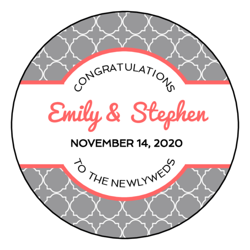 Quatrefoil Wedding Circle Labels (Circle)