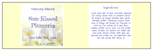 "OL5950 - 8"" x 2.5"" - Plumeria Bath and Body Full Wrap Labels"