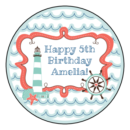 """OL350 - 2.5"""" Circle - Nautical Birthday Circle Labels"""