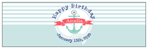 """OL5950 - 8"""" x 2.5"""" - Striped Nautical Birthday Water Bottle Labels"""