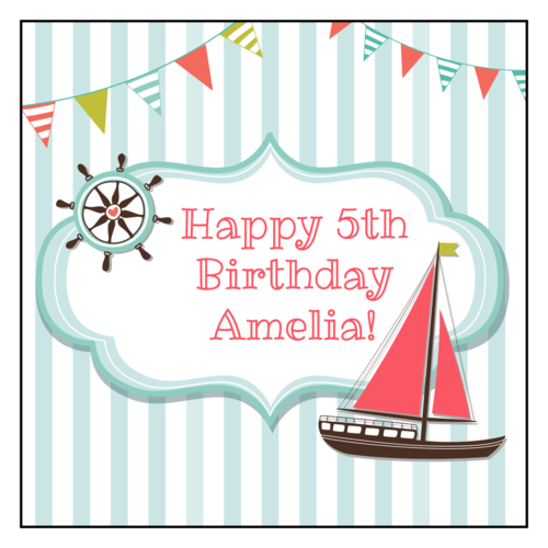 "OL805 - 3"" x 3"" Square - Nautical Birthday Labels"