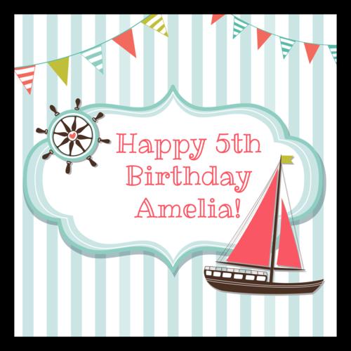 "OL805 - 3"" x 3"" - Nautical Birthday Labels"