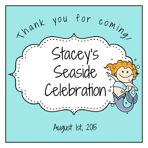 "OL805 - 3"" x 3"" Square - Mermaid Birthday Labels"