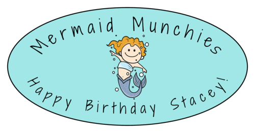 "OL9810 - 3.9375"" x 1.9375"" Oval - Mermaid Birthday Oval Labels"