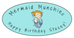 Mermaid Birthday Oval Labels