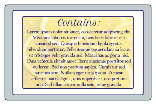 "OL575 - 3.75"" x 2.438"" - Lemon Bath and Body Labels - Backing"