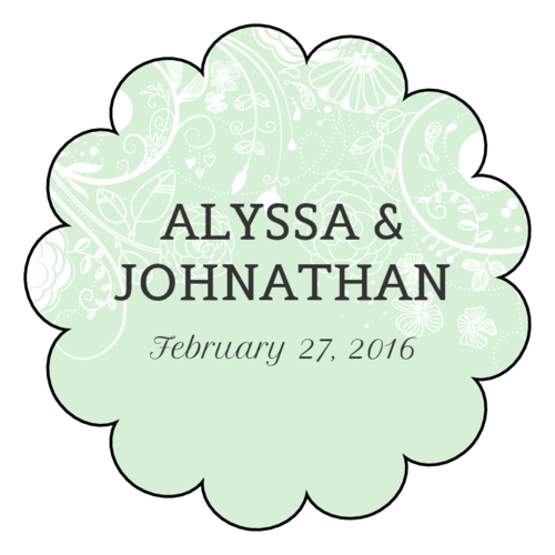 Floral Scalloped Wedding Labels pre-designed label template for OL1027
