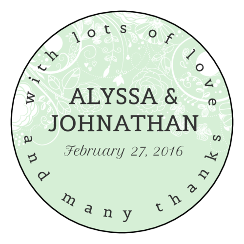 "OL350 - 2.5"" Circle - Floral Wedding Circle Labels"