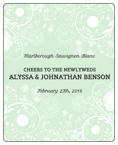 "OL475 - 4"" x 5"" - Floral Wedding Wine Labels"