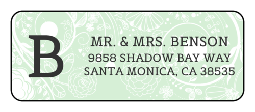 "OL875 - 2.625"" x 1"" - Floral Monogrammed Address Labels"