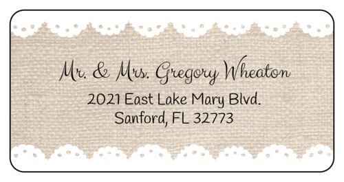 "OL125 - 4"" x 2"" - Burlap Address Labels"
