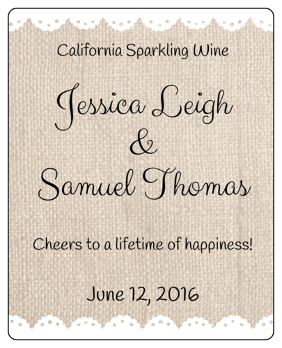 "OL475 - 4"" x 5"" - Burlap Wedding Wine Bottle Labels"