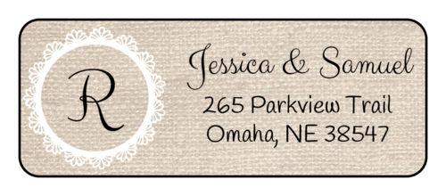 "OL875 - 2.625"" x 1"" - Burlap Monogrammed Address Labels"