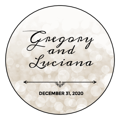 "OL2682 - 2"" Circle - Bokeh Wedding Announcement Circle Labels"