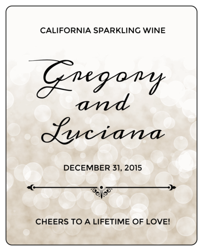 "OL475 - 4"" x 5"" - Bokeh Wedding Wine Bottle Labels"