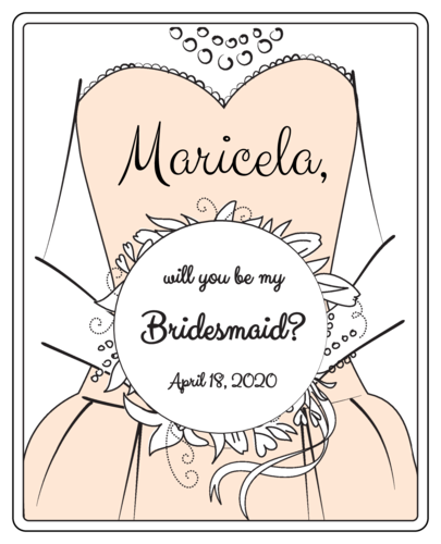 """Will you be my Bridesmaid?"" Wine Bottle Labels pre-designed label template for OL475"