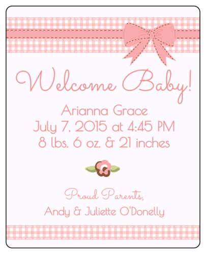 "OL475 - 4"" x 5"" - Birth Announcement Wine Bottle Labels"