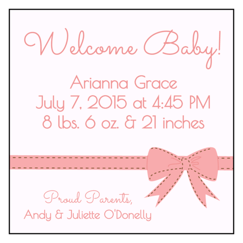 "OL805 - 3"" x 3"" Square - Birth Announcement Square Labels"