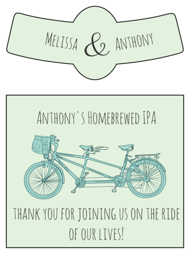 "OL3078 - 3.5"" x 3"" Beer - Tandem Bike Wedding Beer Bottle Labels"