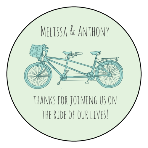 "OL350 - 2.5"" Circle - Tandem Bike Wedding Circle Labels"