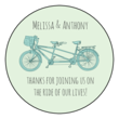 Tandem Bike Wedding Circle Labels