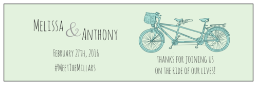 "OL5950 - 8"" x 2.5"" - Tandem Bike Wedding Water Bottle Labels"