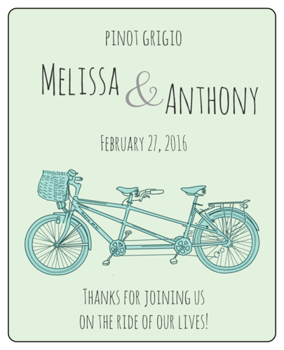 "OL475 - 4"" x 5"" - Tandem Bike Wedding Wine Bottle Labels"