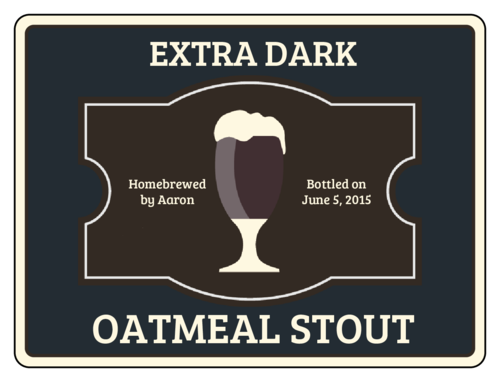 "OL500 - 4"" x 3"" - Oatmeal Stout Beer Bottle Label"