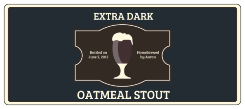 "OL5925 - 7"" x 3"" - Oatmeal Stout Full Wrap Beer Bottle Labels"