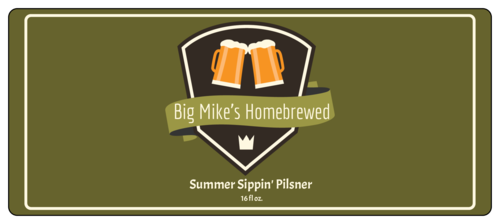 "OL5925 - 7"" x 3"" - Summer Sippin' Pilsner Full Wrap Beer Bottle Labels"