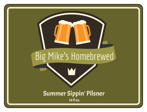 "OL500 - 4"" x 3"" - Summer Sippin' Pilsner Half Wrap Beer Bottle Labels"