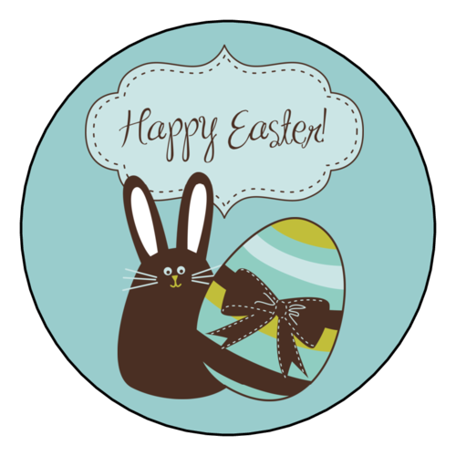 "OL350 - 2.5"" Circle - Easter Bunny & Easter Egg Round Label"