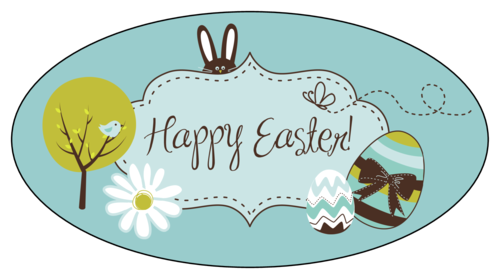 "OL803 - 5.125"" x 2.75"" Oval - ""Happy Easter"" Oval Labels"