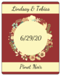 Florid Wedding Wine Bottle Label