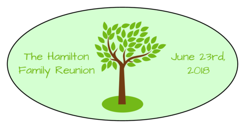 Family Reunion Oval Labels pre-designed label template for OL9810